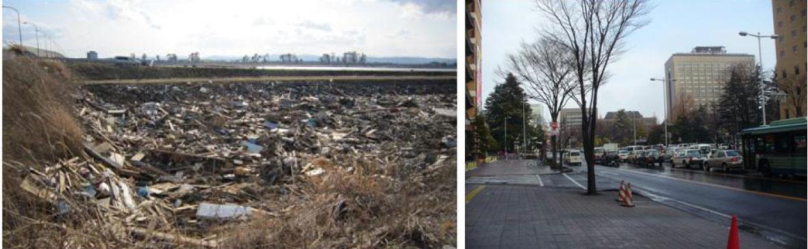 津波の壊滅的な被害を受けたエリア(左)/仙台市内中心部(右)